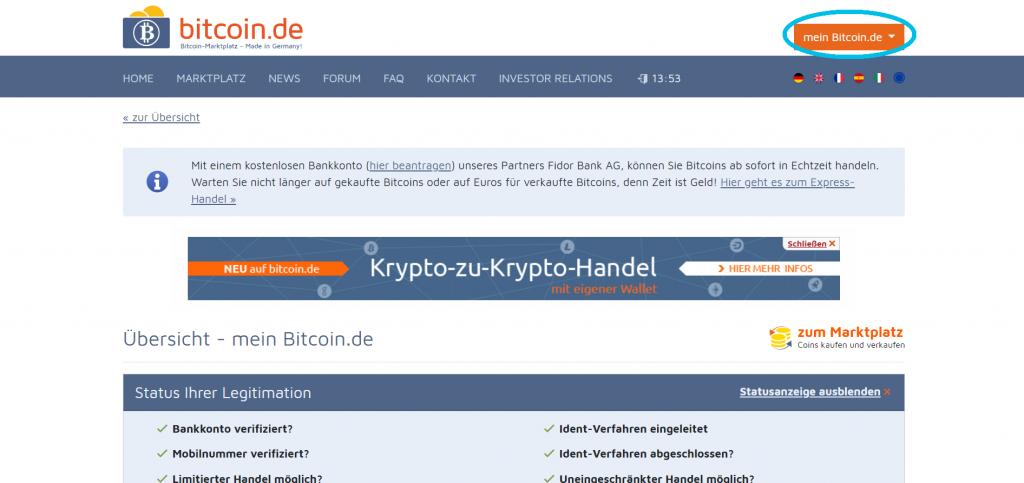 1. Schritt zum Anbinden der bitcoin.de API